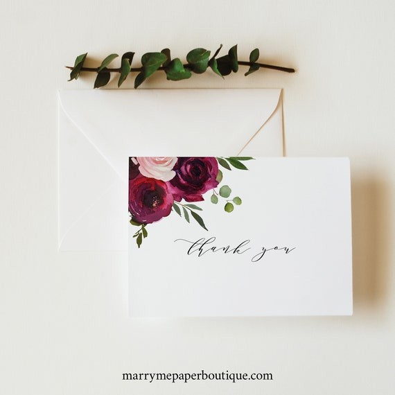 Floral Thank You Card Template, Burgundy Folded Thank You Printable, Editable Templett Instant Download, Try Before You Buy