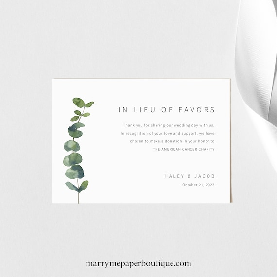 In Lieu of Favors Card Template, Elegant Eucalyptus, Charity Donation Card, Printable, Fully Editable, Templett INSTANT Download