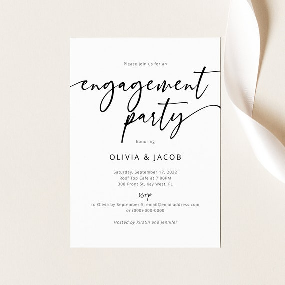 Engagement Party Invitation Template, Modern Calligraphy, Engagement Party Invite, Printable, Templett INSTANT Download, Fully Editable
