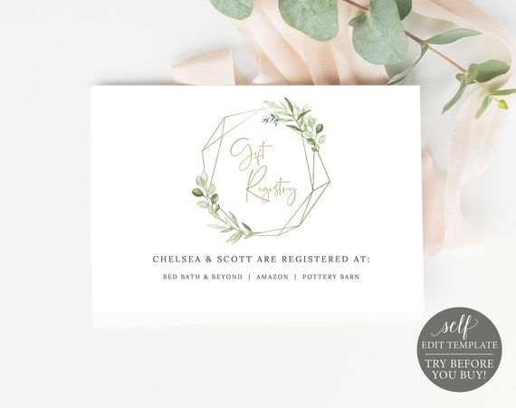 Gift Registry Card Template, Greenery & Gold, Templett, Demo Available, Editable Printable Instant Download