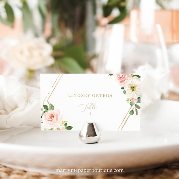 Place Card Template, Pink Floral Hexagonal, TRY BEFORE You BUY, Editable Instant Download