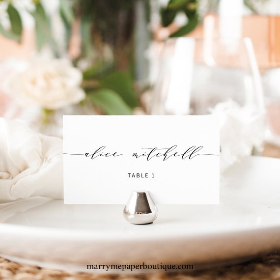 Elegant Wedding Place Card Template, Modern Seating Card Printable, Templett Editable, Instant Download