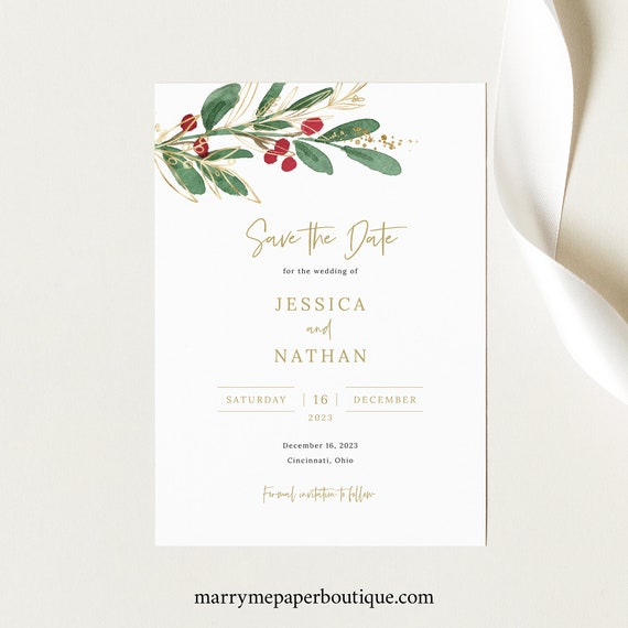 Save the Date Card Template, Winter Wedding, Save Our Date, Red Berries, Printable, Editable, INSTANT Download, Templett