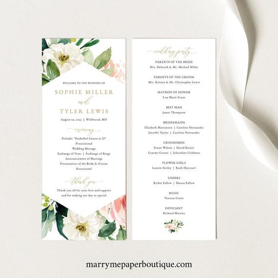 Floral Wedding Program Template, Editable Program, Printable, Blush & White Flowers, Templett, Editable, INSTANT Download