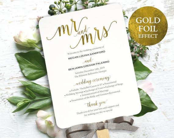 Faux Gold Wedding Program Fan Template, Printable Wedding Fan, Faux Gold Program Fan, Printable Program Fan, PDF Instant Download, MM01-3