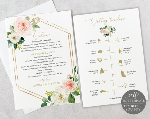 Itinerary Card Template, TRY BEFORE You BUY, Editable Instant Download, Blush Floral Hexagonal