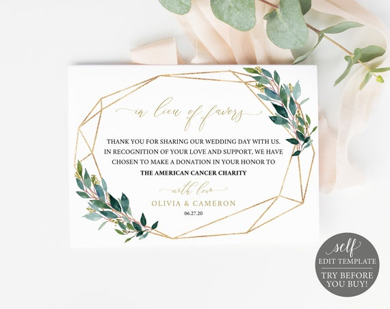 In Lieu of Favors Card Template, Editable Instant Download, TRY BEFORE You BUY, Greenery Geometric