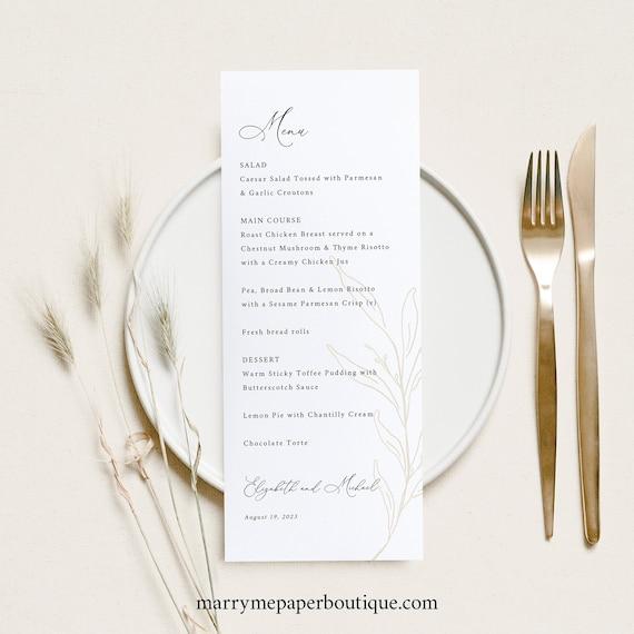 Wedding Menu Template, Botanic Calligraphy, Wedding Table Menu Card, Printable, Editable, Gold Leaf, Templett INSTANT Download