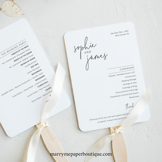 Wedding Program Fan Template, Minimalist Elegant, Editable & Printable Instant Download, Try Before Purchase, Templett