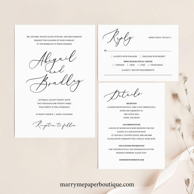 Elegant Wedding Invitation Set TRY BEFORE You BUY Rsvp & image 0