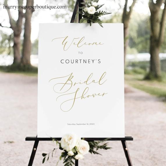 Bridal Shower Welcome Sign Template, Elegant Gold Script, Bridal Shower Sign, Printable, Templett,  Editable, INSTANT Download