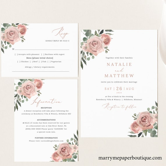 Wedding Invitation Template Set, Dusky Pink Floral, Wedding Invite Suite Printables, RSVP, Details, Dusty Pink, Templett INSTANT Download