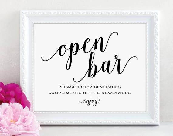 Open Bar Sign, Printable Wedding Reception Sign, Wedding Reception Bar Sign, Wedding Bar Sign, Wedding Signs, PDF Instant Download, MM01-1