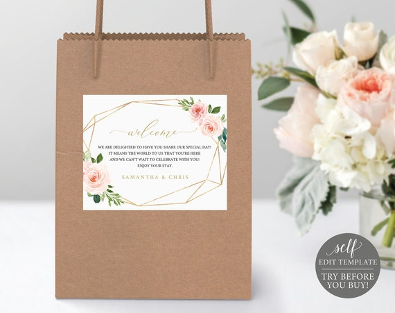 Wedding Guest Gift Bag Label Template, TRY BEFORE You BUY, Fully Editable Instant Download, Blush Floral Geometric