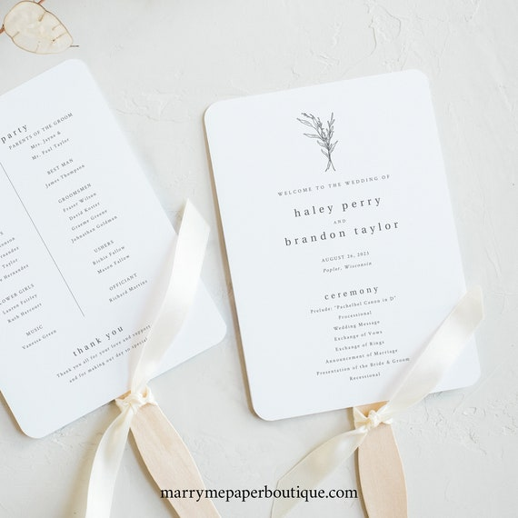 Wedding Program Fan Template, Modern Rustic, Try Before Purchase, Editable & Printable, Templett Instant Download