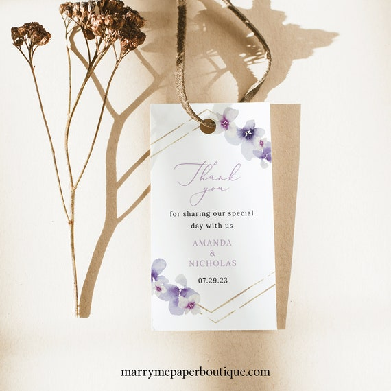 Wedding Favor Tag Template, Lilac Flowers, Wedding Tag, Printable Rectangular Favor Tag, Purple Hydrangea, Templett INSTANT Download