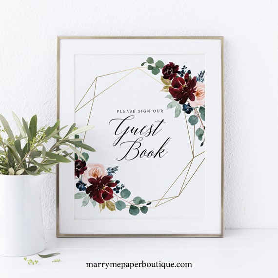 Guest Book Sign Printable, Burgundy Floral, Wedding Sign, INSTANT Download, Non-Editable