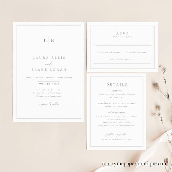 Wedding Invitation Template Set, Monogram & Border, Wedding Invitation Suite, Printable, Editable, RSVP, Details, Templett INSTANT Download
