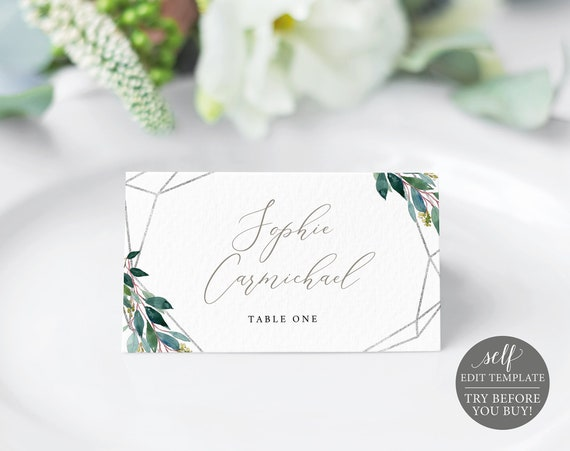 Place Card Template, Silver Greenery, Demo Available, Editable & Printable Instant Download