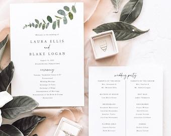 Wedding Program Template, Eucalyptus Greenery, Wedding Ceremony Program, 5x7, Printable, Editable, Templett INSTANT Download