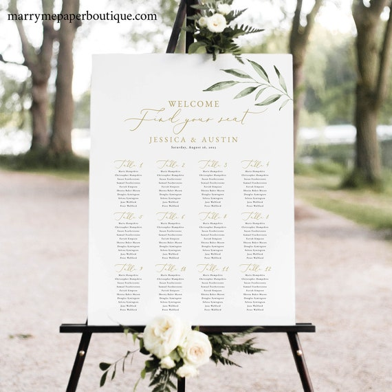 Seating Chart Template, Greenery Leaf, Instant Download, Editable & Printable, Templett, Try Before You Buy