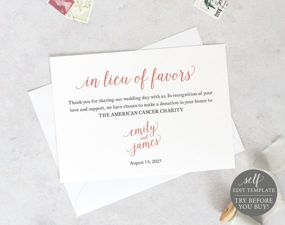 In Lieu of Favors Card Template, Editable & Printable Instant Download, Rose Gold Script, Templett, TRY BEFORE You Buy