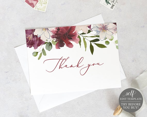 Thank You Card Template, Fold, Editable Instant Download, TRY BEFORE You BUY, Burgundy Floral