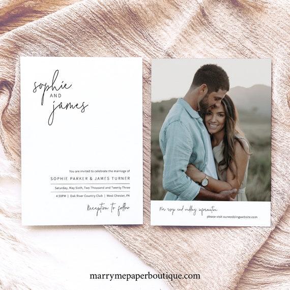 Wedding Invitation Template, Elegant Minimalist, Simple Wedding Invitation, Printable, Editable, Double Sided, Templett INSTANT Download
