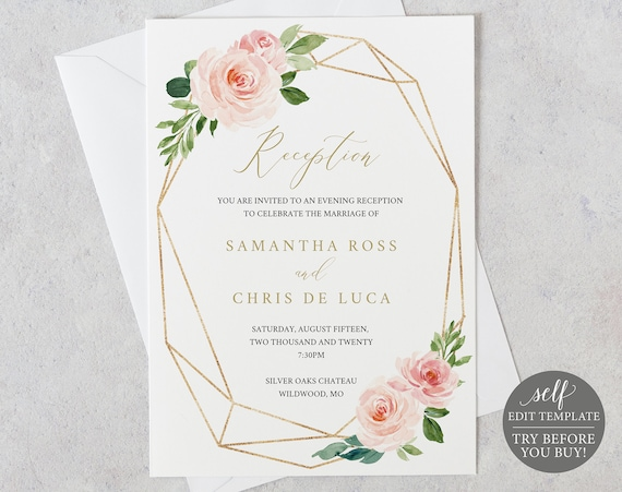 Wedding Reception Invitation Template, TRY BEFORE You BUY, Fully Editable Instant Download, Blush Floral
