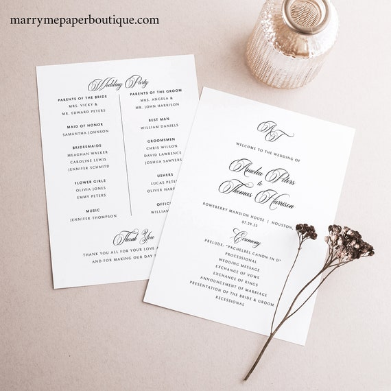 Wedding Program Template, Traditional Wedding, Calligraphy Monogram, Wedding Ceremony Program, Printable, Templett INSTANT Download