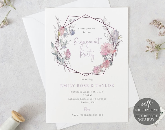 Engagement Party Invite Template, 100% Editable Instant Download, TRY BEFORE You BUY, Pink & Lilac Geometric