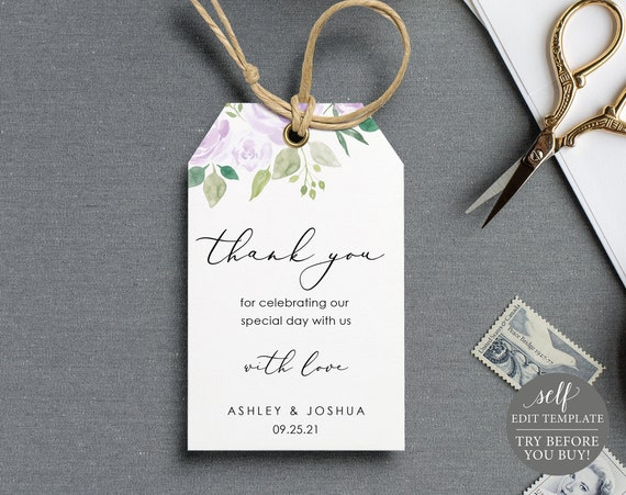 Thank You Favor Tag Template, Lilac Floral, TRY BEFORE You BUY, Editable Instant Download