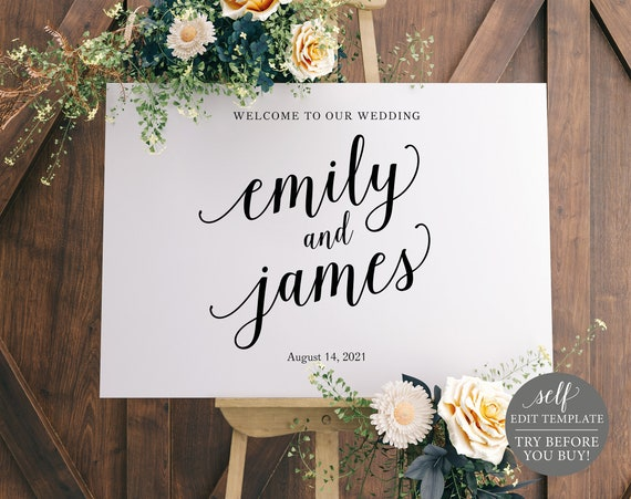 Wedding Welcome Sign Template, TRY BEFORE You BUY, 100% Editable Instant Download, Modern Script