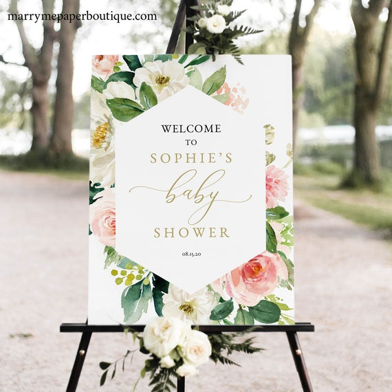 Floral Baby Shower Welcome Sign Template, Blush & White Flowers, Printable Baby Shower Sign, Templett, INSTANT Download, Editable