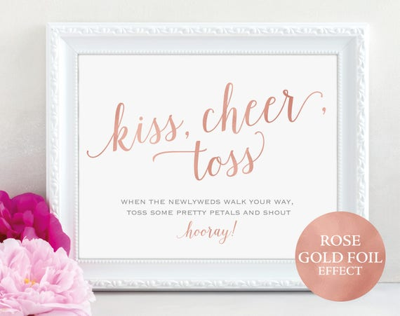 Wedding Confetti Sign, Rose Gold Kiss Cheer Toss Sign, Toss Petals Sign, Wedding Printable, Wedding Petals, PDF Instant Download, MM01-7