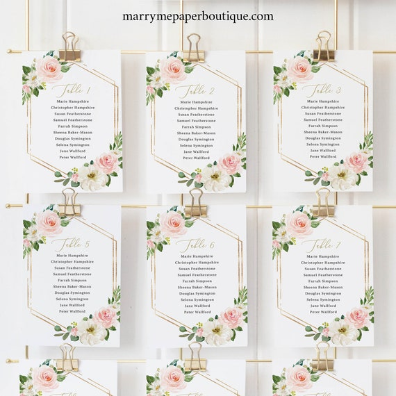 Wedding Seating Chart Template, Pink Floral Hexagonal, Editable Instant Download, TRY BEFORE You BUY