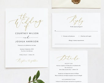 Wedding Invitation Set Templates, Elegant Gold, TRY BEFORE You BUY,   Editable Instant Download