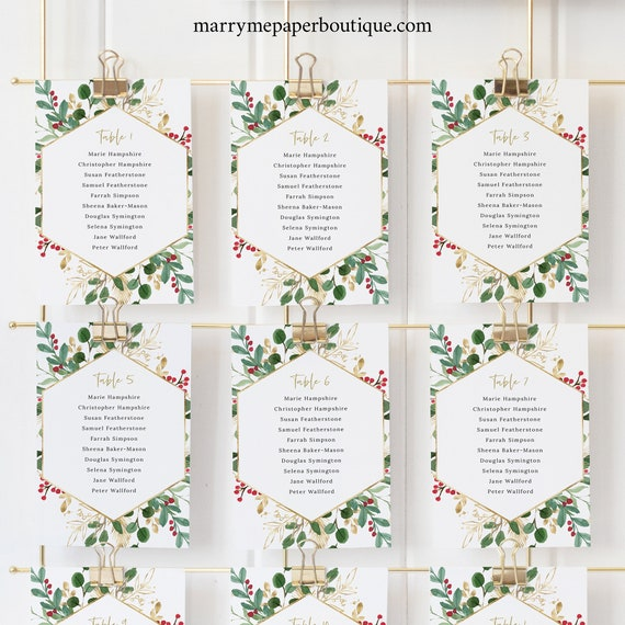 Winter Wedding Seating Cards Template, Christmas Wedding, Seating Chart Cards, Printable, Templett, Editable, INSTANT Download