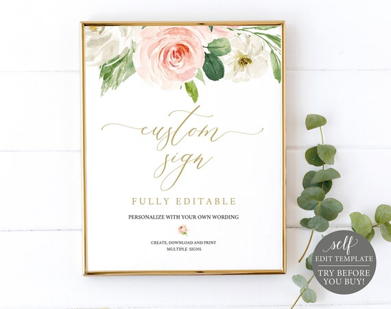Create MULTIPLE Wedding Signs, Blush Floral Editable Templates, Instant Download, TRY BEFORE You Buy