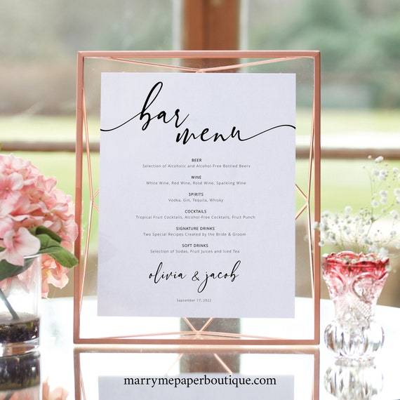 Bar Menu Template, Modern Calligraphy, Try Before You Buy, Editable & Printable, Templett Instant Download