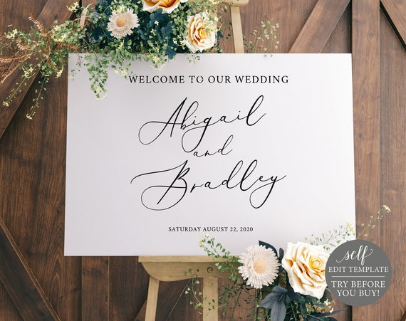 Wedding Welcome Sign Template, Elegant Calligraphy, Self-Edit Instant Download, TRY BEFORE You BUY