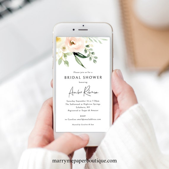 Bridal Shower Text Invitation Template, Pink Floral Greenery, Ivory, Digital Text Invite, Electronic, Templett INSTANT Download, Editable