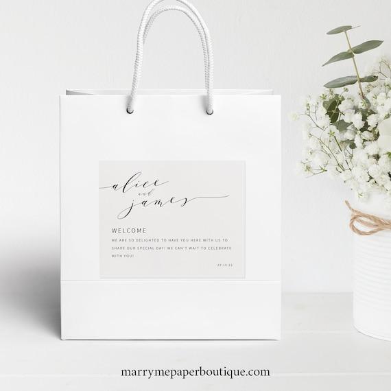 Elegant Wedding Guest Bag Label Template, Modern Welcome Bag Label Printable, INSTANT Download, Templett, Fully Editable