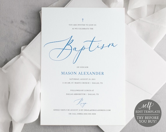 Baptism Invitation Template, Free Demo Available, Fully Editable Instant Download, Light Blue
