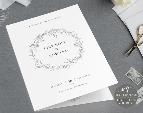 Wedding Program Template, TRY BEFORE You BUY, 100% Editable Ceremony Printable, Instant Download