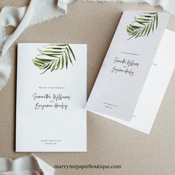 Tropical Wedding Program Template, Beach Wedding, Folded Program Printable, Templett Editable, Instant Download