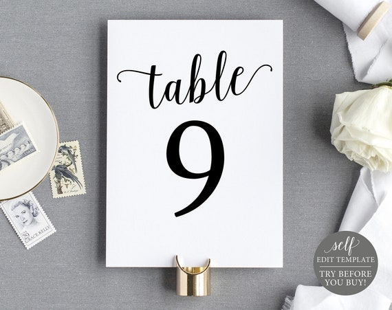 Table Number Template, TRY BEFORE You BUY, 100% Editable Instant Download, Modern Script