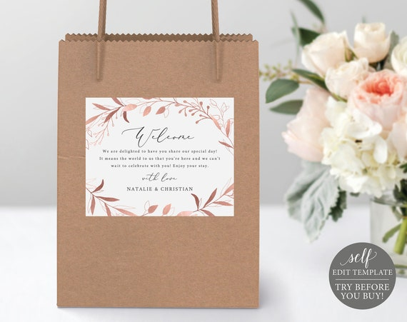 Welcome Bag Label Template, Rose Gold Foliage, TRY BEFORE You BUY, Self Edit Instant Download