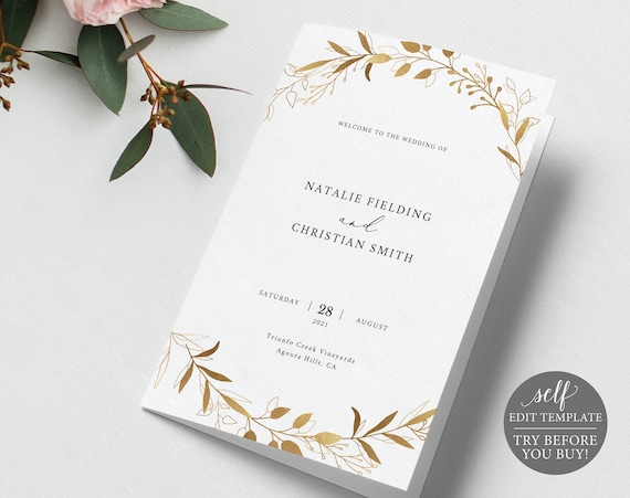Wedding Program Template, Gold Wreath, Folded, TRY BEFORE You BUY, 100% Editable Instant Download