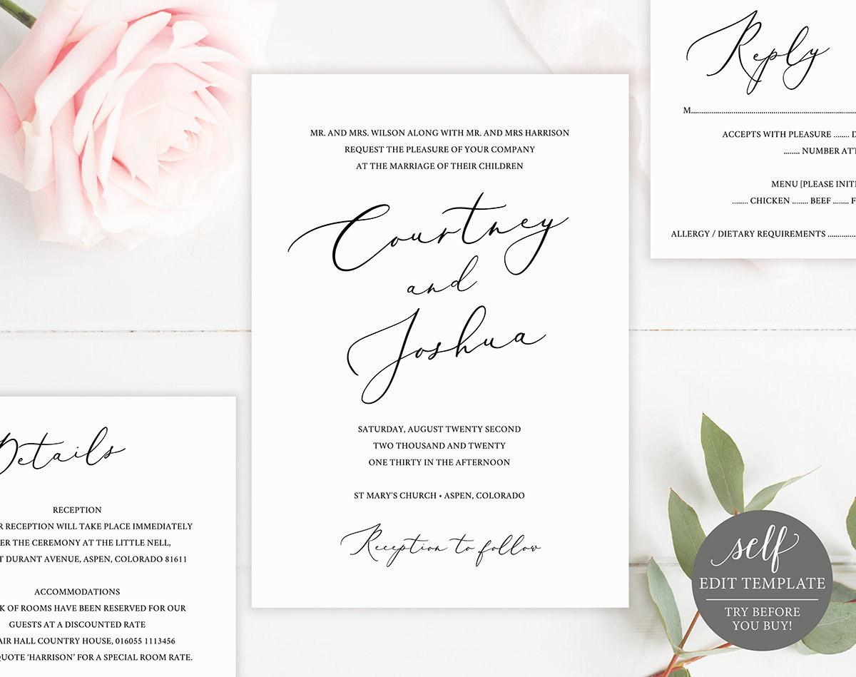 Elegant Wedding Invitation Templates: Elegant Wedding Invitation Template, With RSVP & Details